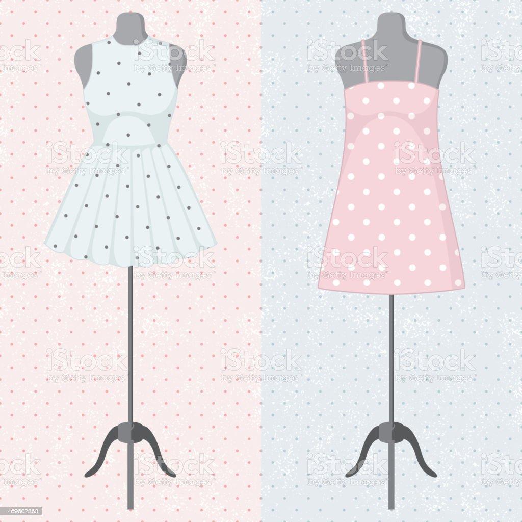 db84c9433dc Différentes robes vintage sur un mannequin différentes robes vintage sur un  mannequin – vecteurs libres de