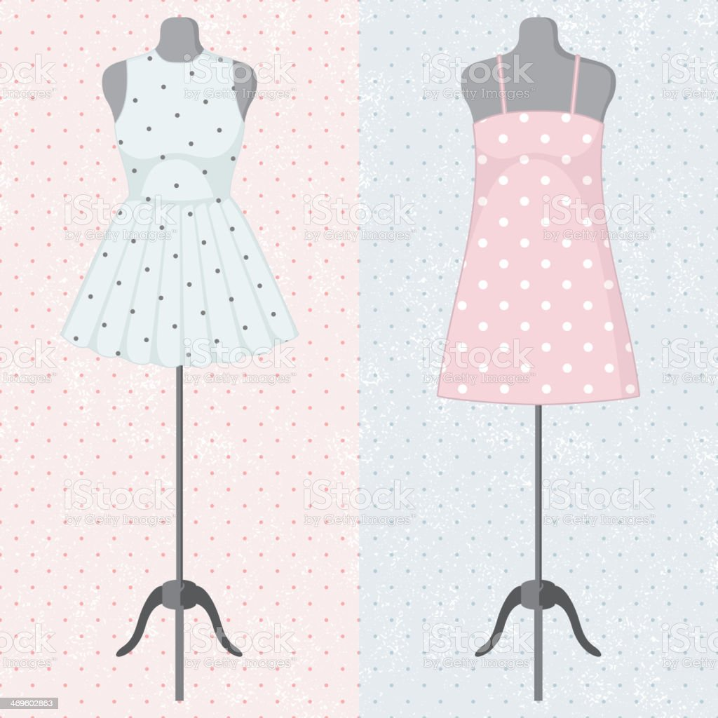 Different vintage dresses on a mannequin vector art illustration