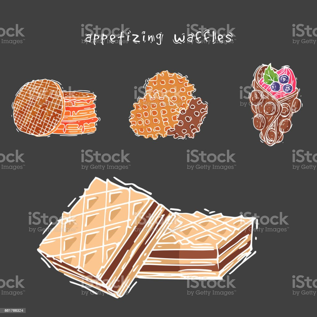 Different wafer cookies waffle cakes pastry cookie biscuit delicious snack cream dessert crispy bakery food vector illustration vector art illustration