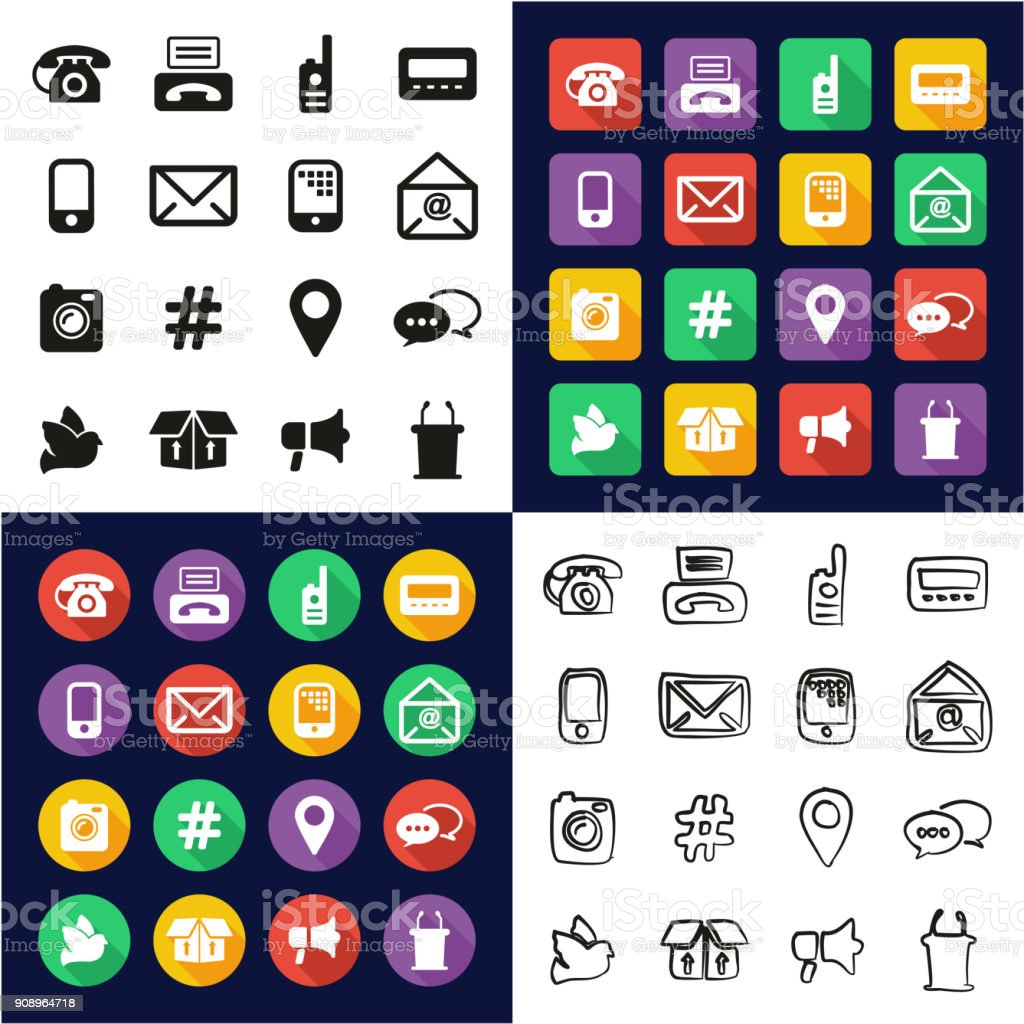 Verschiedene Arten Der Kommunikation Die Alle In Einem Icons Schwarz