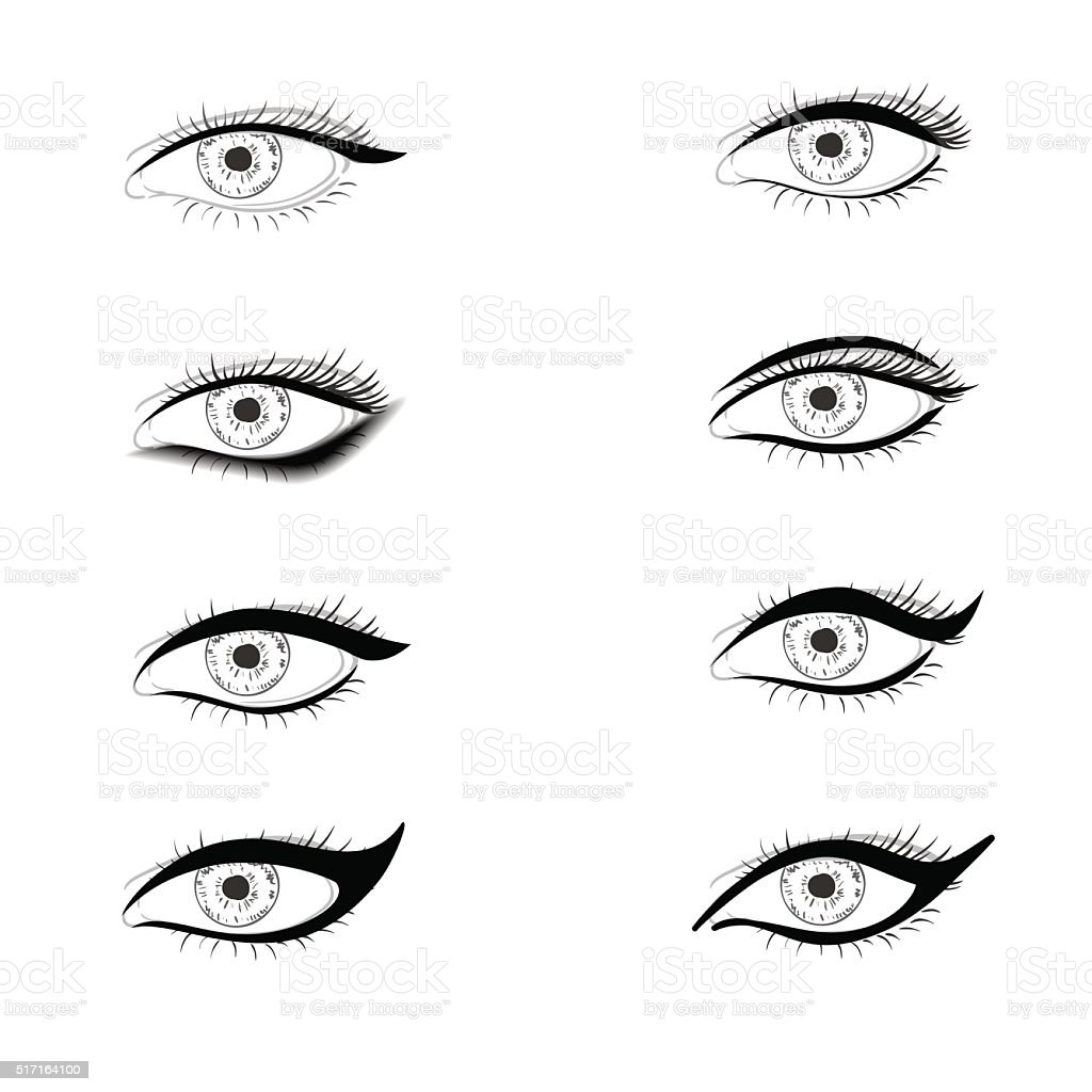 Different ways to put eyelid makeup vector art illustration