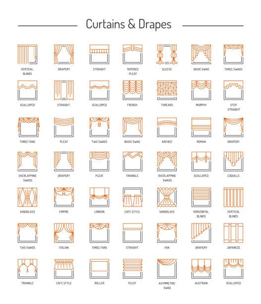 anderes fenster vorhänge, gardinen, jalousien. lambrequins und schattierungen. zuhause dekorative elemente. linie-icon-set. vektor-illustration. - stoffrollos stock-grafiken, -clipart, -cartoons und -symbole