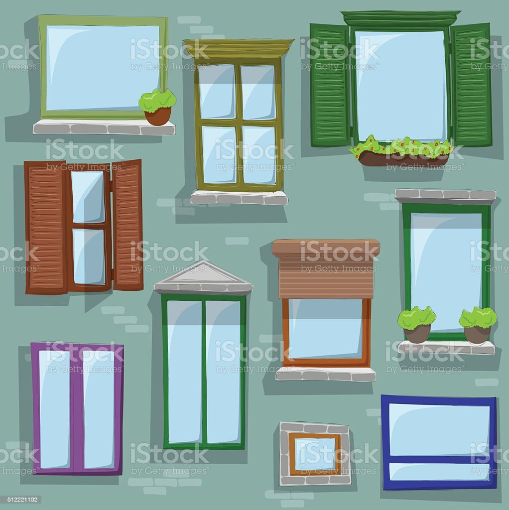Different window drawings vector art illustration
