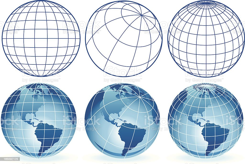 different wire frame globes royalty-free stock vector art