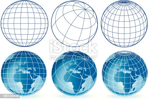 Vector wireframe globes Europe and Africa. A large jpg is included with this EPS download.
