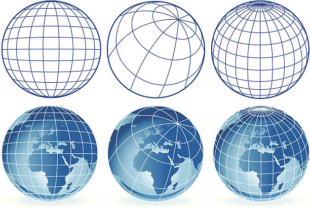 different wireframe globes Europe and Africa vector art illustration