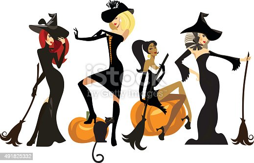 istock different witches in dresses and hats with brooms 491825332