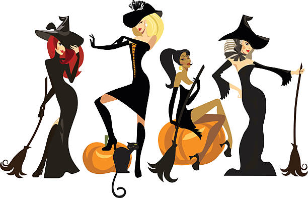 different witches in dresses and hats with brooms - 美麗的人 幅插畫檔、美工圖案、卡通及圖標