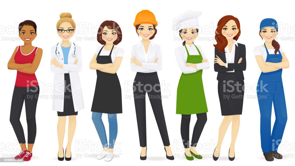 Different woman professions set vector art illustration