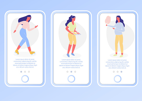 Different Women Activities. Vector Illustration.