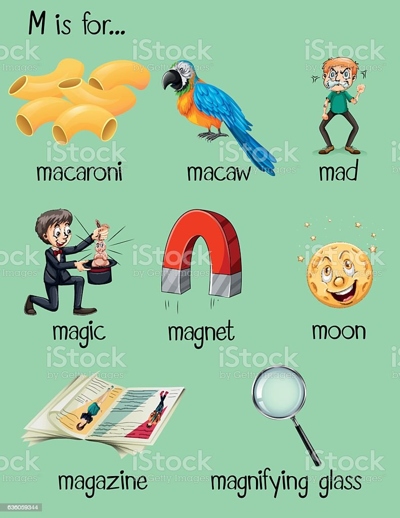 Different Words For Letter M Stock Vector Art & More Images of