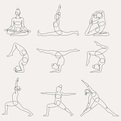 Different yoga poses continuous one line vector illustration. Flexibility, balance, training lineart, silhouette. Keeping healthy, fit lifestyle with yoga, gymnastics training. Working out at gym