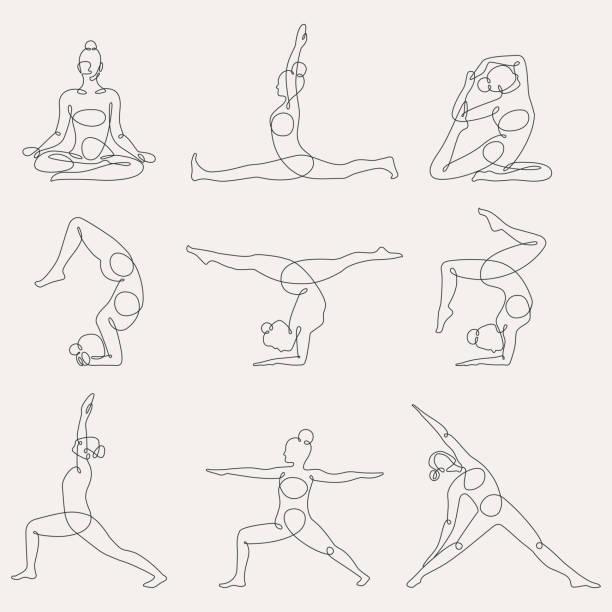 verschiedene yoga stellt kontinuierliche einzeilige vektor-illustration. - yoga stock-grafiken, -clipart, -cartoons und -symbole