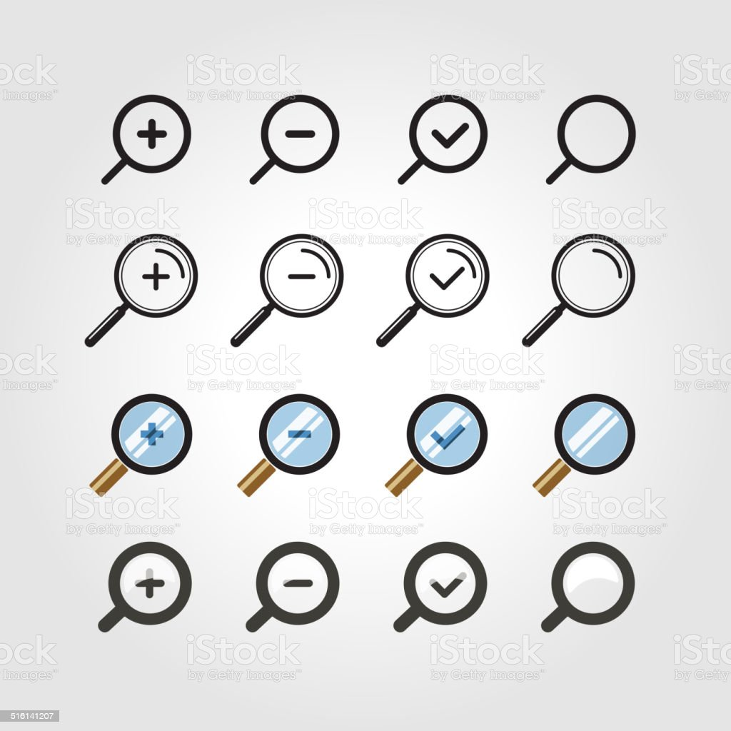 Different zoom icons set vector art illustration