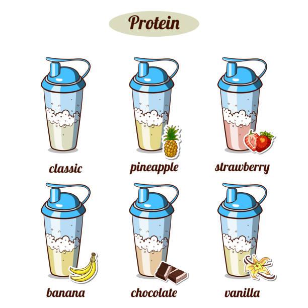 illustrazioni stock, clip art, cartoni animati e icone di tendenza di different_protein_coktails - fruit juice bottle isolated