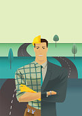 Differential of a man with a half of a face with a work clothes and suits on winding road background. metaphor of leadership solutions corporate of success. Vector Illustration flat style.