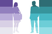Man and woman silhouettes on color gradient rectangles