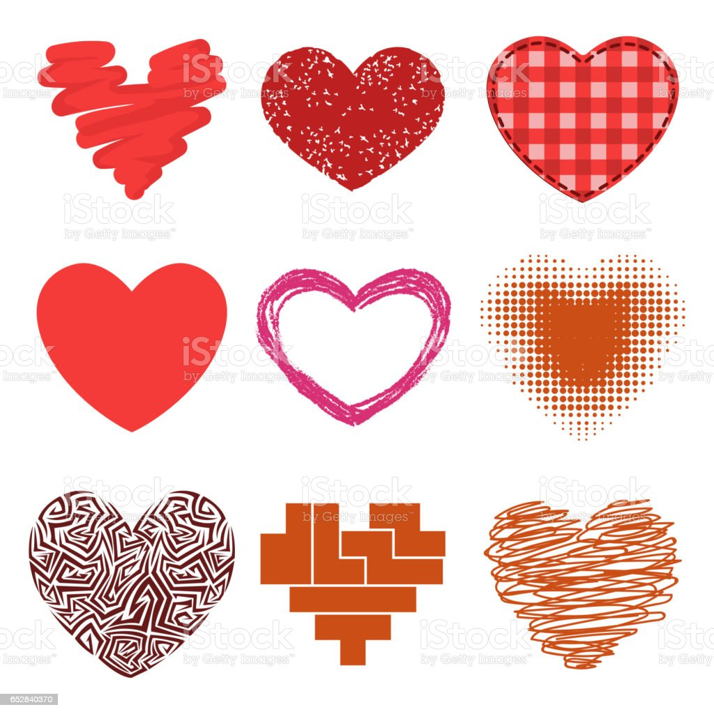 Differents Style Red Heart Vector Icon Isolated Love