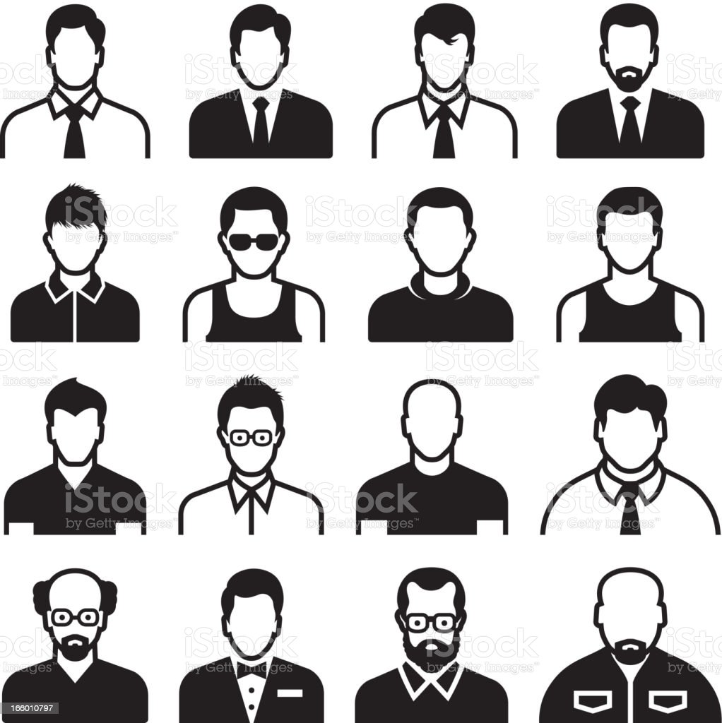 Differnent man Body Types black & white vector icon set vector art illustration