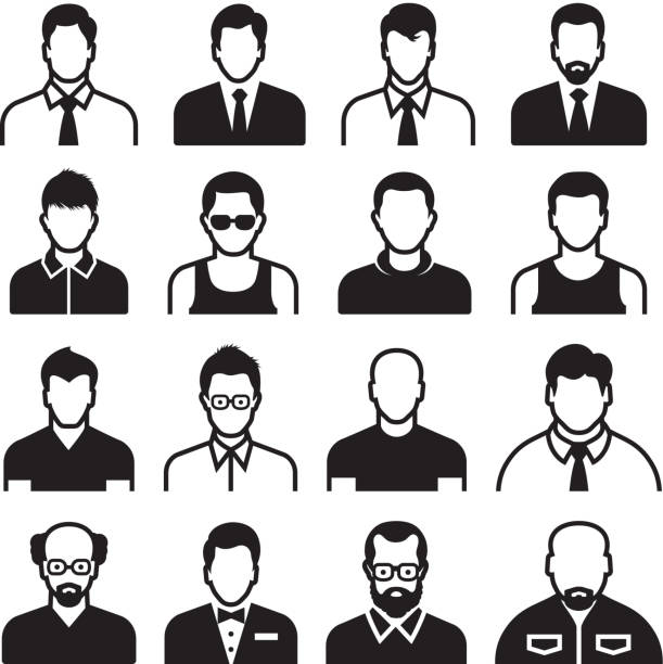 differnent man body types black & white vector icon set - old man faces stock illustrations, clip art, cartoons, & icons