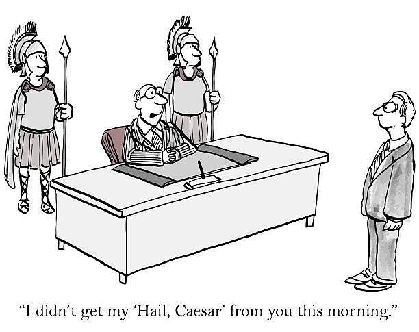 """Difficult Boss """"I didn't get my Hail Caesar from you this morning."""" hailing a ride stock illustrations"""