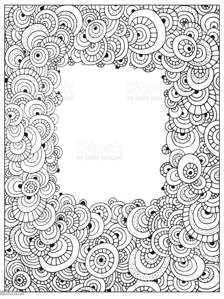 Hand Drawn Uncolored Difficult Abstract Adult Coloring Book Page ... | 1024x766