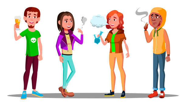 Difficult Teenagers - Alcohol, Cigarettes, Drugs Addiction Vector. Isolated Illustration vector art illustration