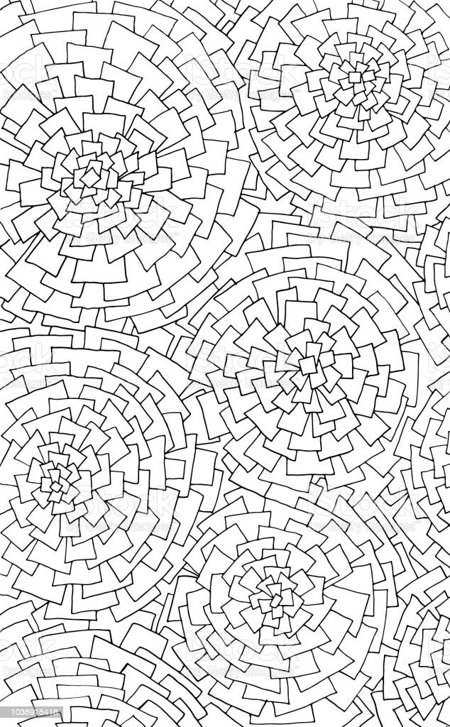 Difficult Uncolored Adult Coloring Book Page With Optical Illusion And Distortions For Adults Or Kids Stock Illustration Download Image Now Istock