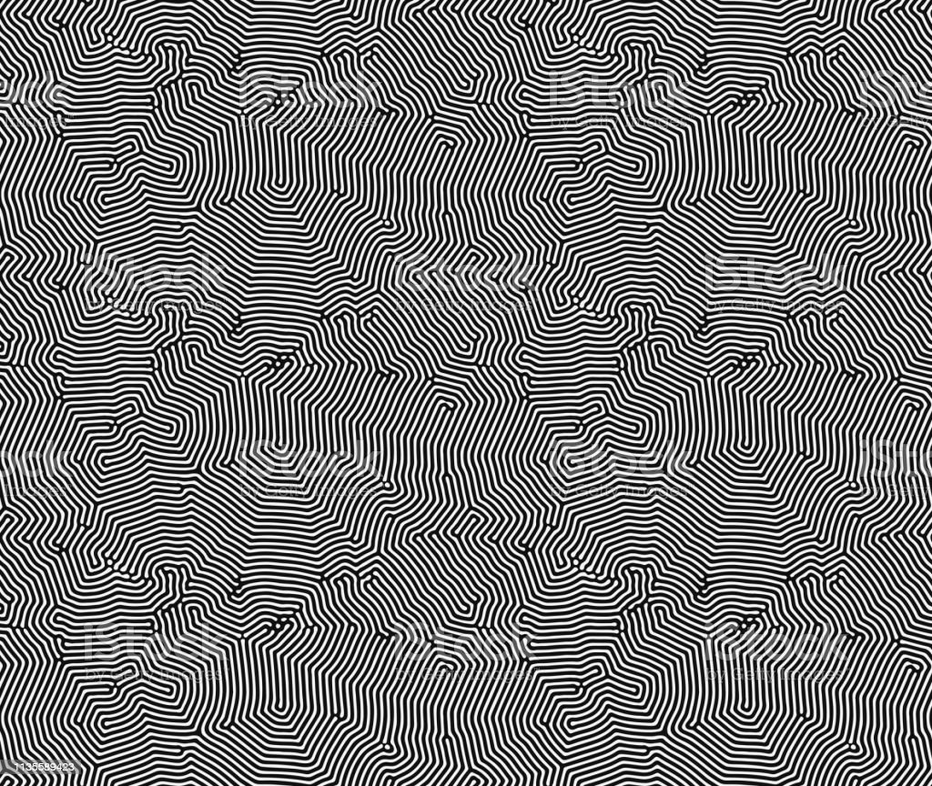 Diffusion reaction vector seamless pattern black and white organic shapes lines pattern abstract