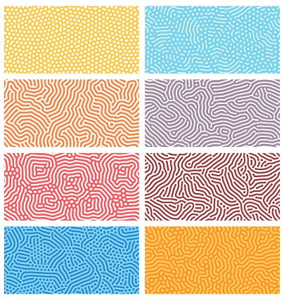 Diffusion seamless patterns. Modern bio organic Turing design with abstract stipple, dots and lines. Geometric ornament vector textures set. Rounded colorful lines. Structure of natural cells, maze