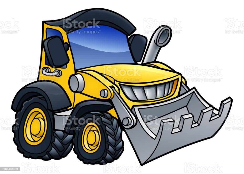 Digger Bulldozer Cartoon digger bulldozer cartoon - stockowe grafiki wektorowe i więcej obrazów biały royalty-free