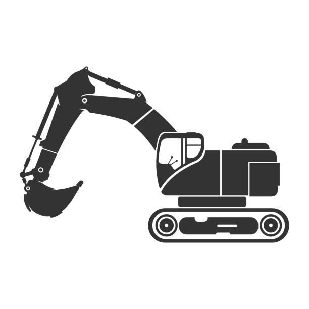 digger bagger icon vector illustration silhouette - bagger stock-grafiken, -clipart, -cartoons und -symbole