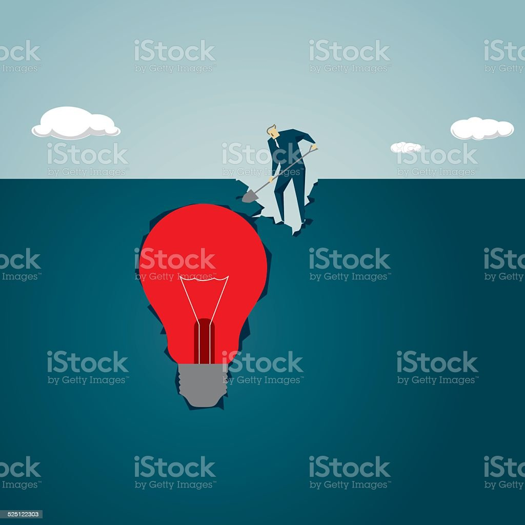 Digging, Discovery,Exploration, Strategy,  Finding,Looking,Treasure, Solution vector art illustration