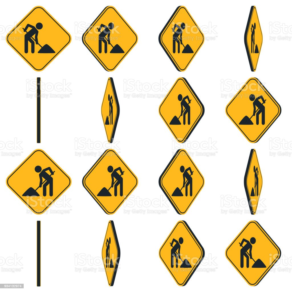 Digging Man Rotation Road Sign Animation Sprite Sheet Stock Vector