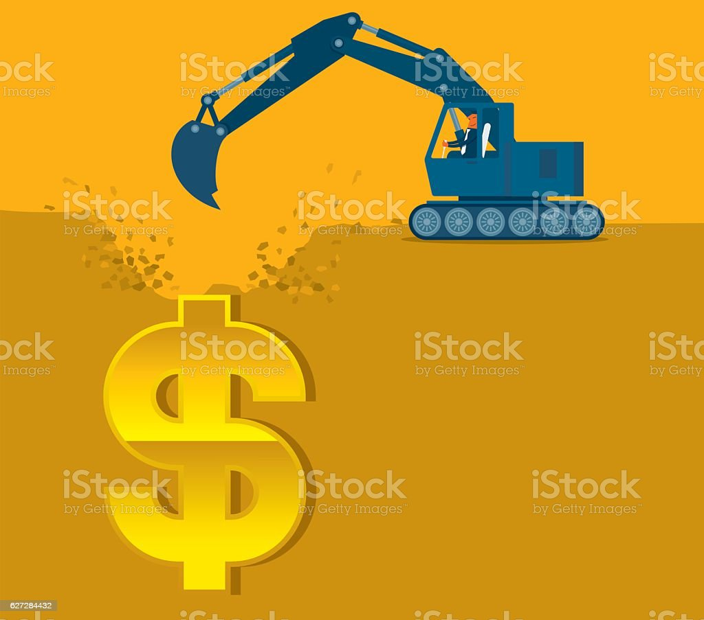 Digging Money vector art illustration