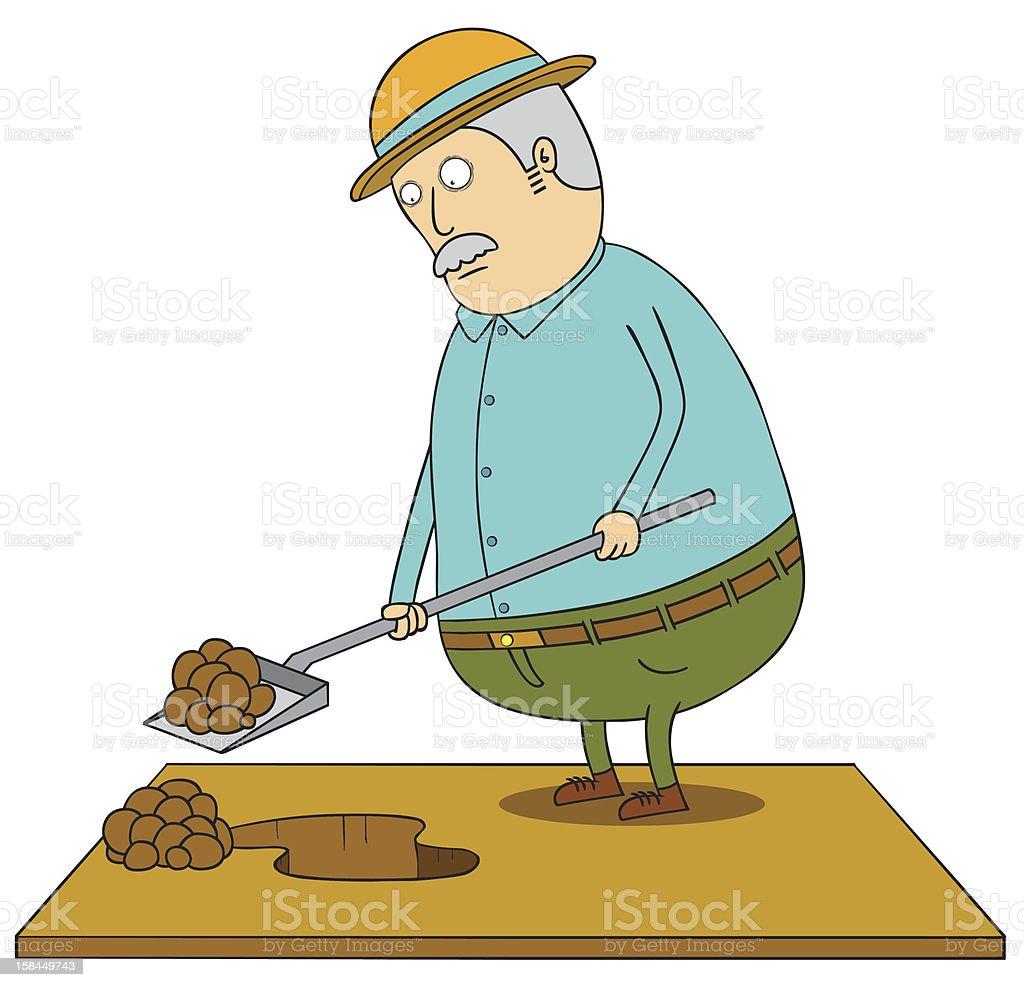 Digging old fat man vector art illustration