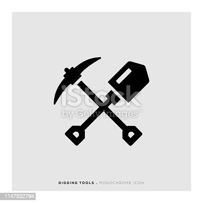 Digging Tools Monochrome Icon