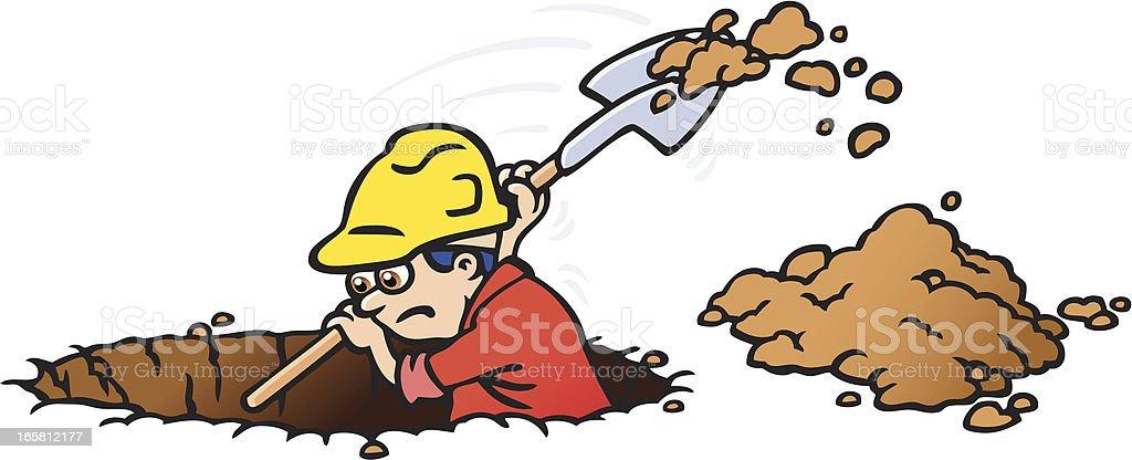 Digging vector art illustration