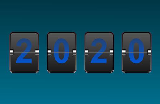 Digit flip clock 2020 numbers.