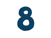 Digit number 8. Vector. icon for the company. Icon for the site. Separate digit from the alphabet. Barbed pleasant shape.