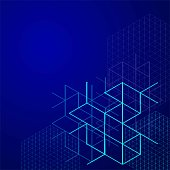 Digital abstract boxes on blue background. lines and cube Vector illustration.