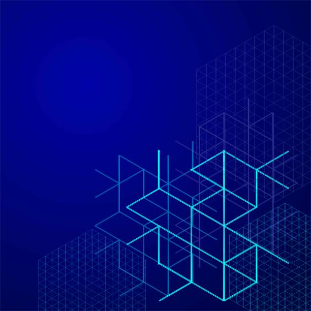 digital abstract boxes on blue background. lines and cube vector illustration. - konstrukcja budowlana stock illustrations