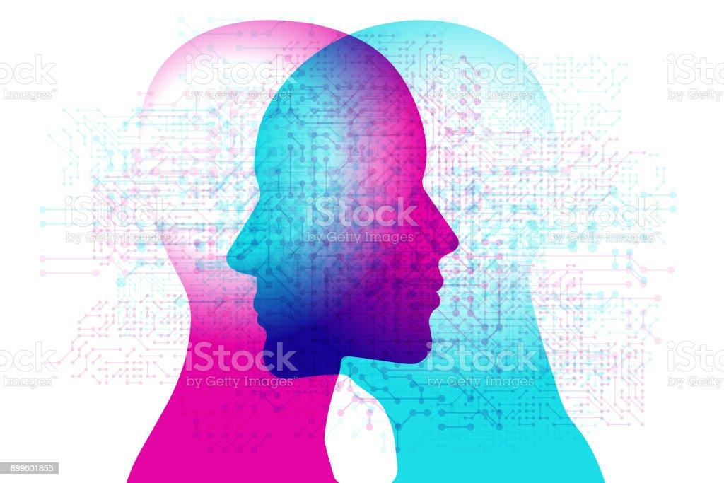 Digital AI Minds vector art illustration