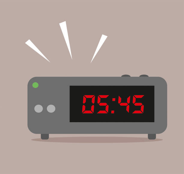 illustrazioni stock, clip art, cartoni animati e icone di tendenza di digital alarm clock - mattina