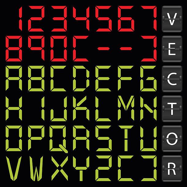 digital alphabet - digital display stock illustrations, clip art, cartoons, & icons