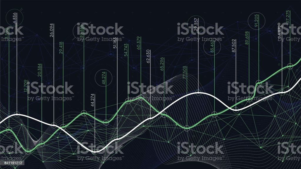 Digital analytics concept, data visualization, financial schedule, vector vector art illustration