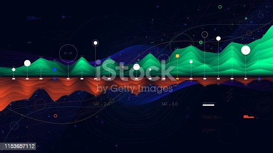 Digital analytics concept, intricate data graphic visualization, financial schedule, vector
