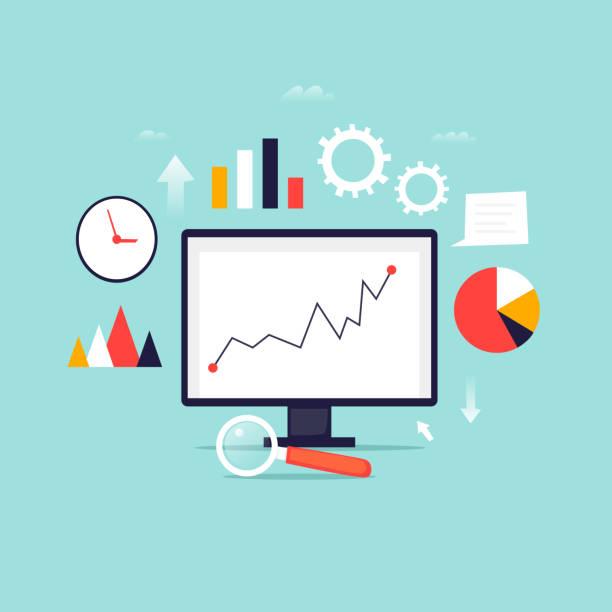 Digitale Informationen-Analysetools. Big-Data. Flaches Design-Vektor-Illustration. – Vektorgrafik