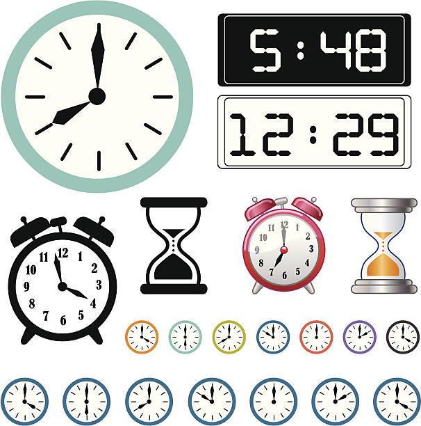 Digital And Analog Clocks Vector Art Illustration