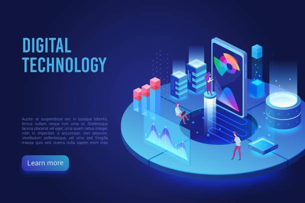 Digital and Internet technology dark neon light landing page isometric vector template vector art illustration